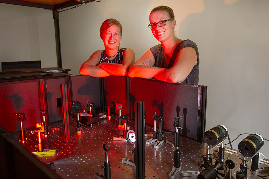Former Florida State University postdoctoral researcher Sarah Wieghold, left, and FSU Assistant Professor of Chemistry and Biochemistry Lea Nienhaus