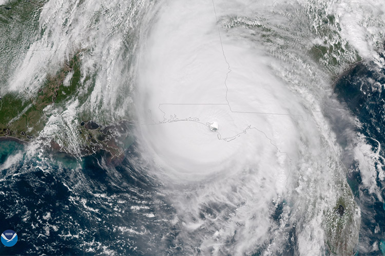 Category 5 storm Hurricane Michael is seen via satellite during landfall over the Florida Panhandle on Oct. 18, 2018. Photo courtesy the National Oceanic and Atmospheric Administration.