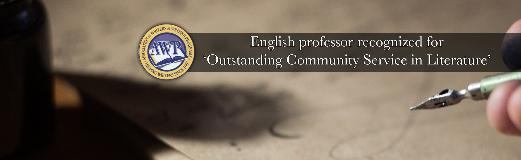 English professor recognized for 'Outstanding Community Service in Literature'